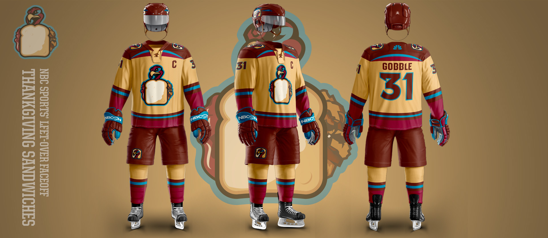 Gobbler Sandwich - Football Uniform Design for NBC Sports Thanksgiving Second Feast Face-Off