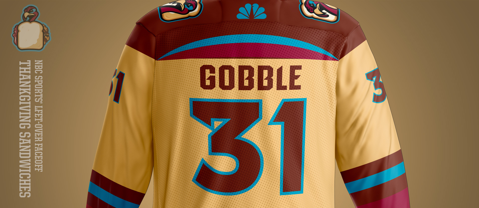 Gobbler Sandwich Front - Football Uniform Design for NBC Sports Thanksgiving Second Feast Face-Off
