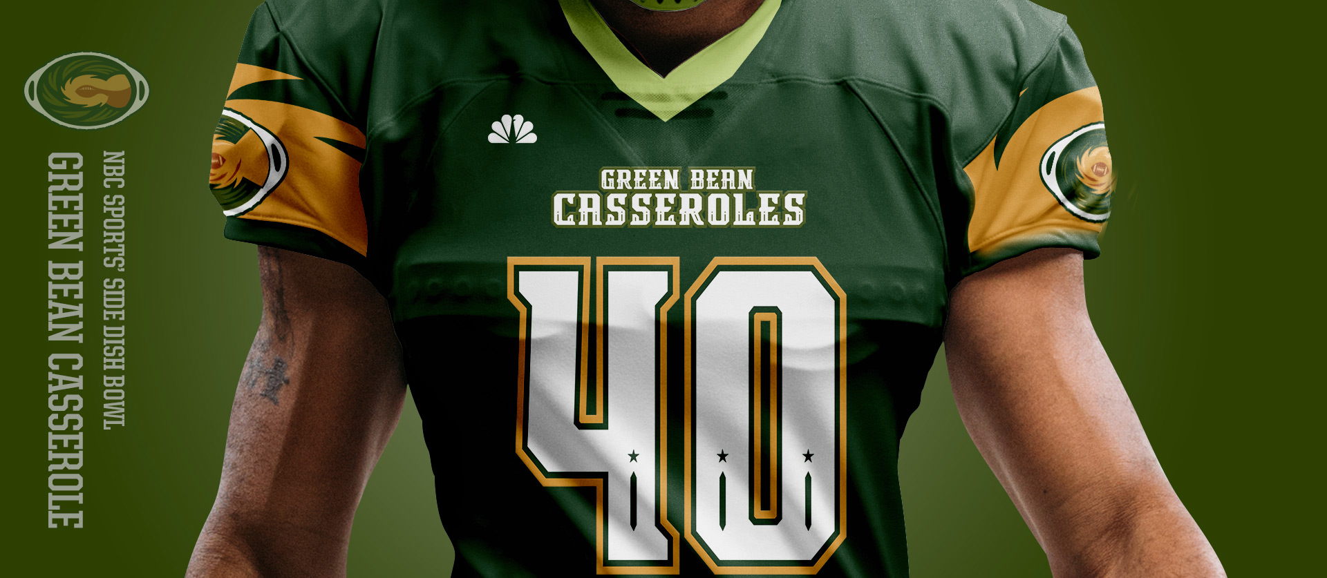 Green Bean Casseroles Front - Football Uniform Design for NBC Sports Thanksgiving Side Dish Bowl