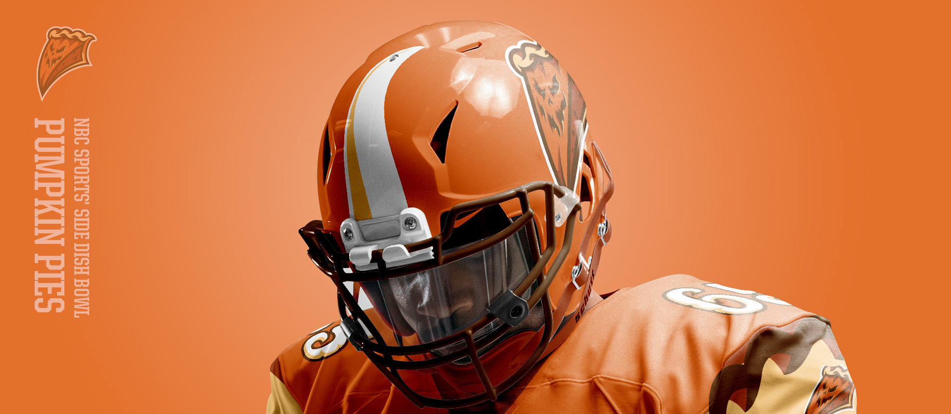 Pumpkin Pies Helmet Frontside - Football Uniform Design for NBC Sports Thanksgiving Side Dish Bowl