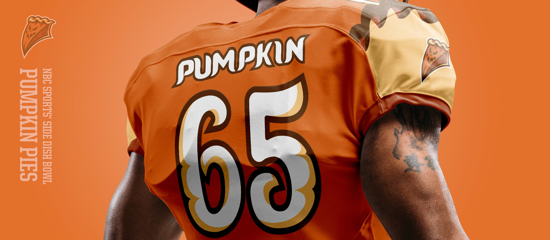 Pumpkin Pies Back - Football Uniform Design for NBC Sports Thanksgiving Side Dish Bowl