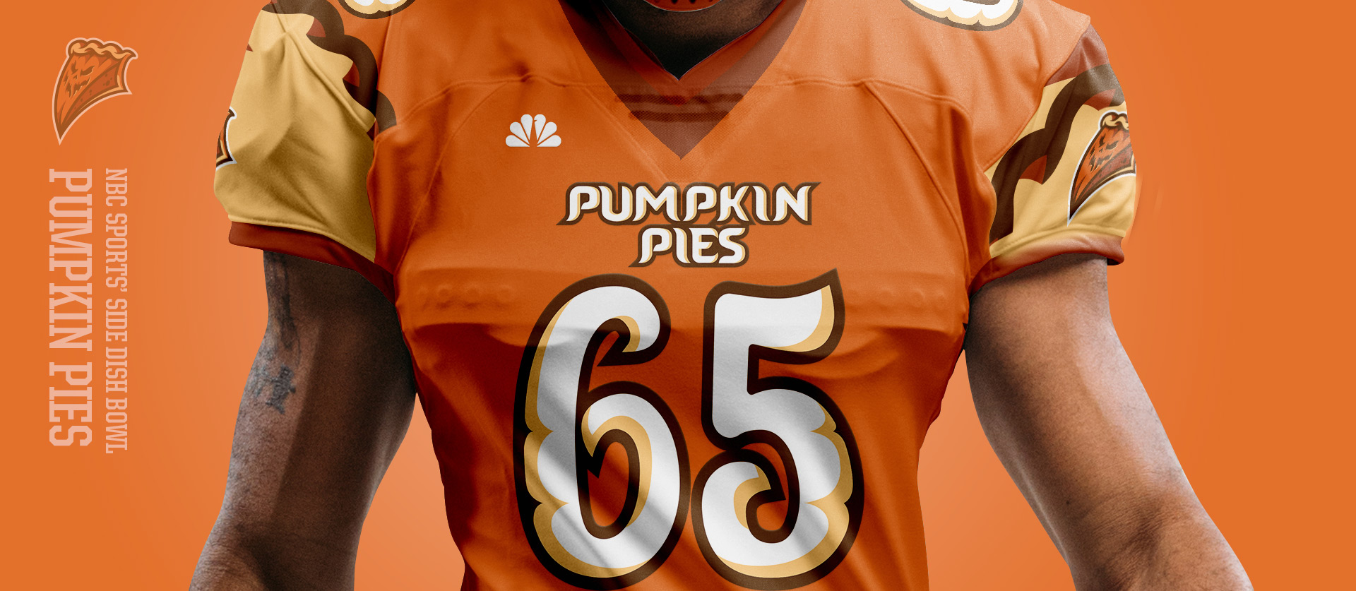 Pumpkin Pies Front - Football Uniform Design for NBC Sports Thanksgiving Side Dish Bowl